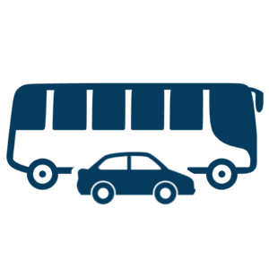 bus and car transportation icon